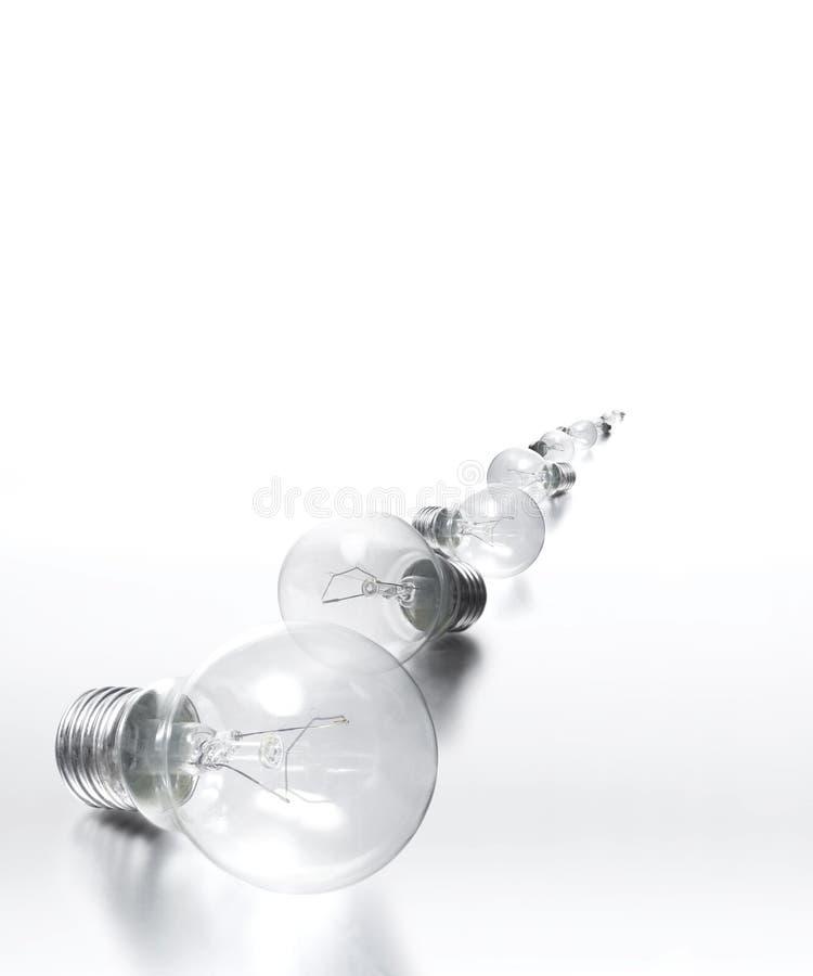 所有电灯泡集中轻的行 库存图片