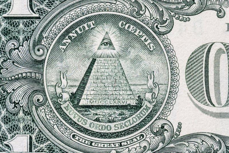 所有眼睛看见 共济会的标志 泥工标志 1一美元 免版税库存图片