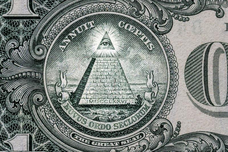 所有眼睛看见 共济会的标志 泥工标志 1一美元 库存照片