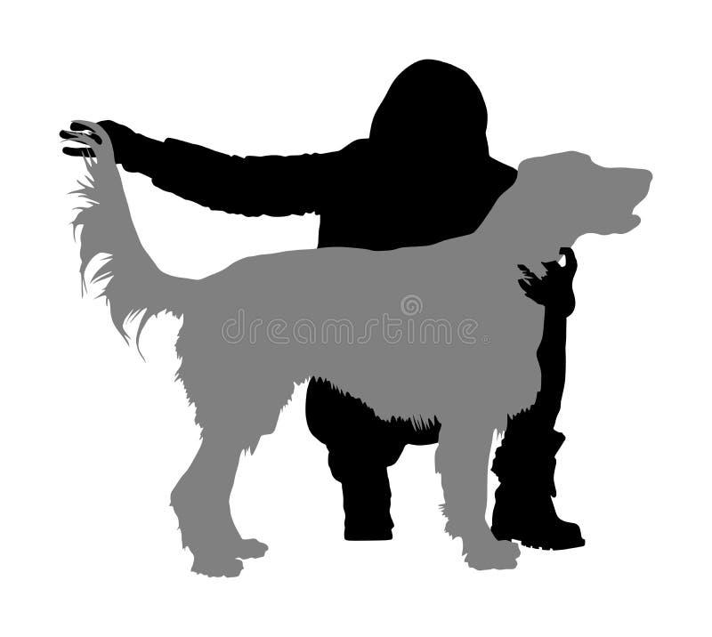 所有者女孩收留在阶段的金毛猎犬狗 爱尔兰赤毛的塞特种猎狗冠军剪影 库存例证