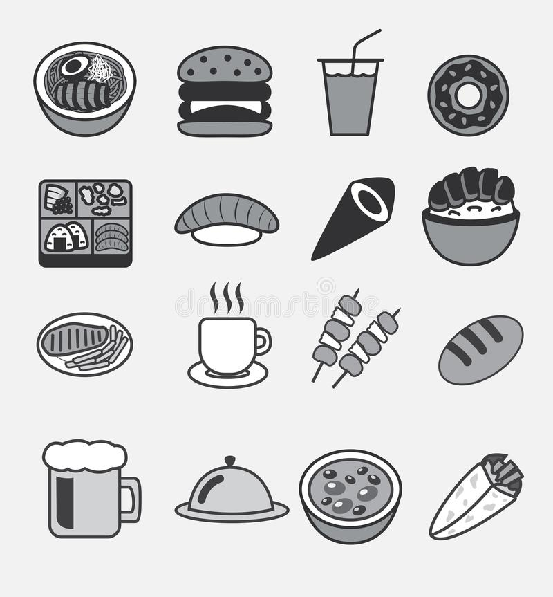 所有食物象传染媒介商标,乌龙面,汉堡,苏打饮料, bento,多福饼,寿司, maki, donburi日本米弓,牛排, co 库存例证
