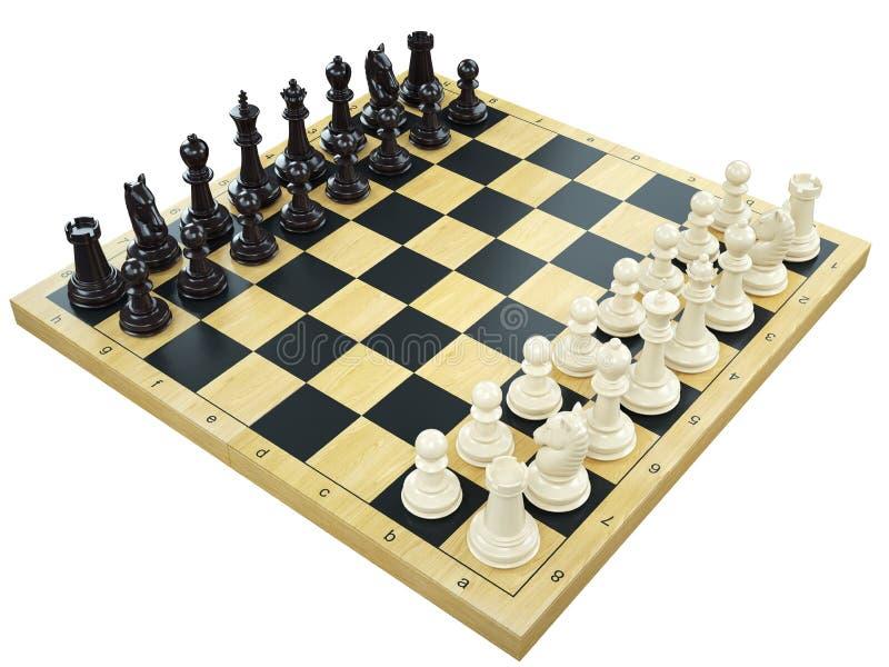 所有黑人董事会棋判断典当白色 向量例证