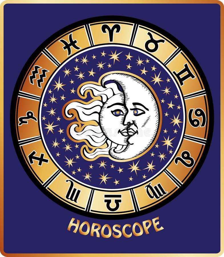 所有黄道带签到占星圈子。太阳和月亮 库存例证