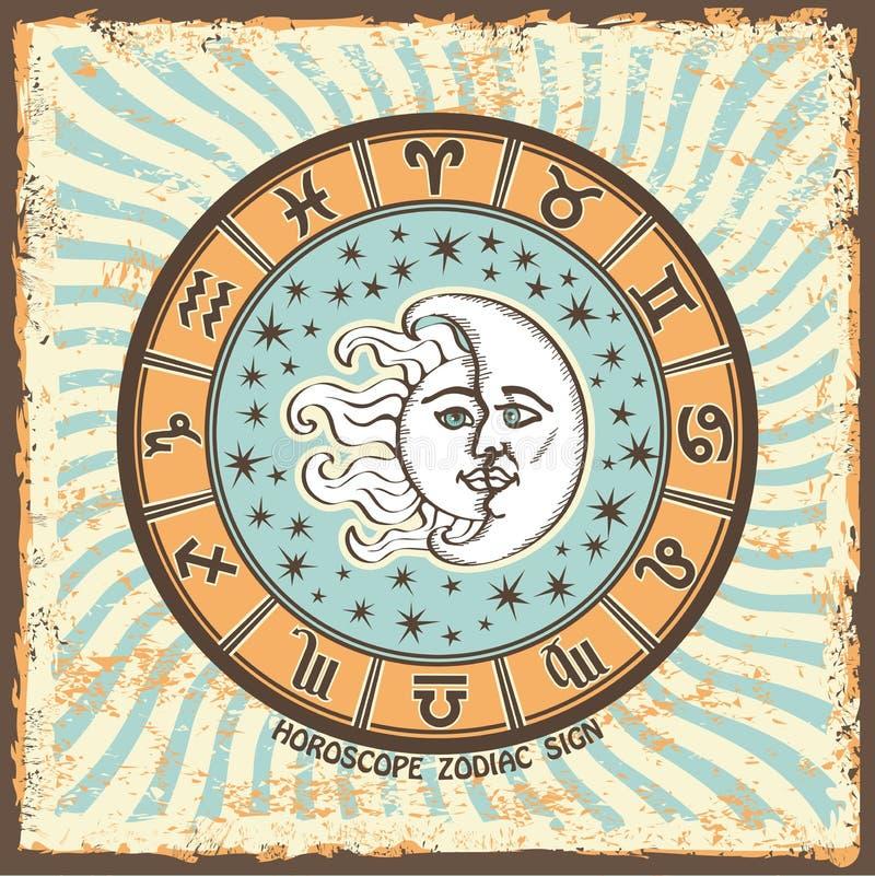 所有黄道带签到占星圈子 葡萄酒占星卡片 向量例证