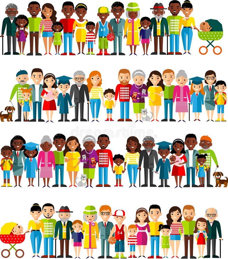 所有年龄组非裔美国人,欧洲人民 世代供以人员和妇女 皇族释放例证