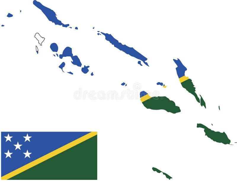 所罗门群岛传染媒介地图有旗子的 被隔绝的,白色背景 免版税库存照片