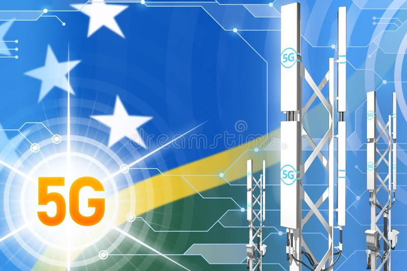 所罗门群岛5G工业例证、大多孔的网络帆柱或者塔在数字背景与旗子- 3D 向量例证