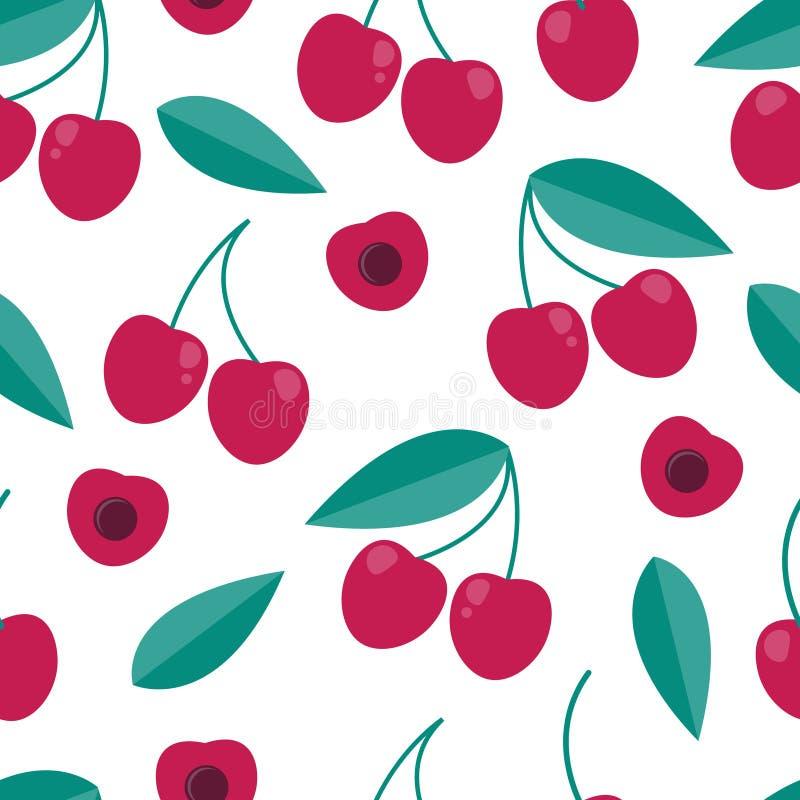 扁平型樱桃无缝图案 年份背景 皇族释放例证