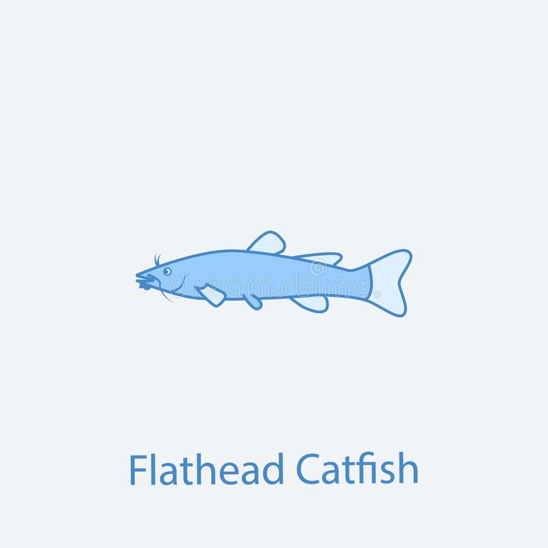 扁平头的鲶鱼2种族分界线象 简单的光和深蓝元素例证 扁平头的鲶鱼概念概述标志des 向量例证