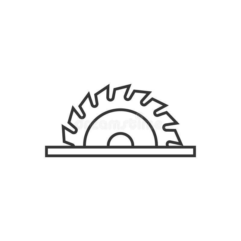 扁平式锯条图标 白色孤立背景上的圆机矢量图插图 旋转盘业务概念 皇族释放例证