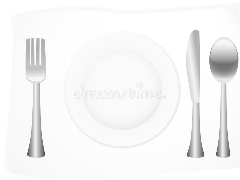 扁平的餐具银 库存例证