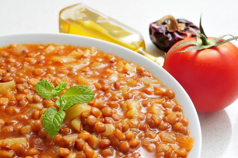 扁豆炖煮的食物 库存照片