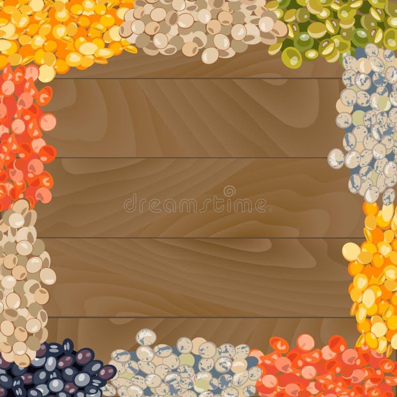 扁豆的各种各样的类型在木背景的 库存例证