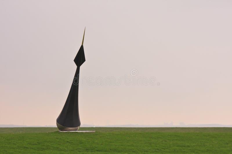 扇动浮体的艺术品在Groninger堤堰,荷兰 库存照片