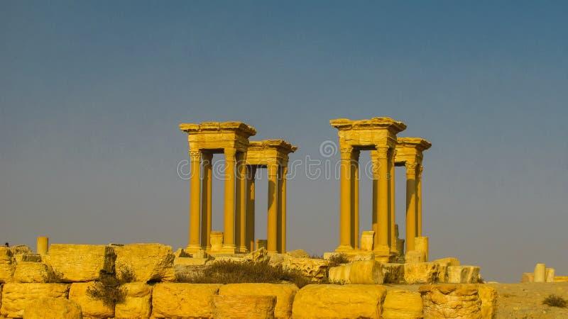 扇叶树头榈专栏和古城,被毁坏的ISIS叙利亚全景  图库摄影