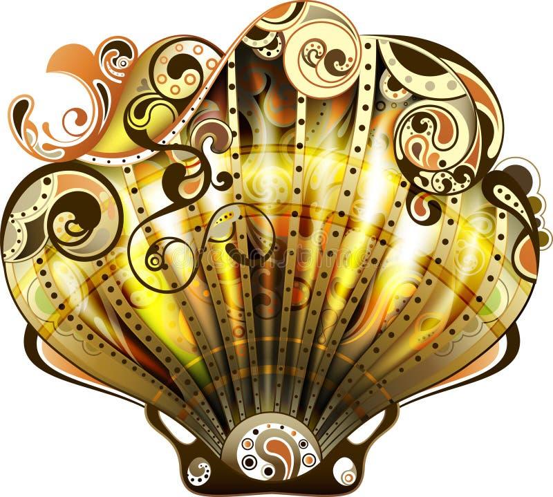 Download 扇贝 库存例证. 插画 包括有 海运, 滚动, 扇贝, 漩涡, 生活, 贝壳, 例证, 金子, 设计, 抽象 - 22352534