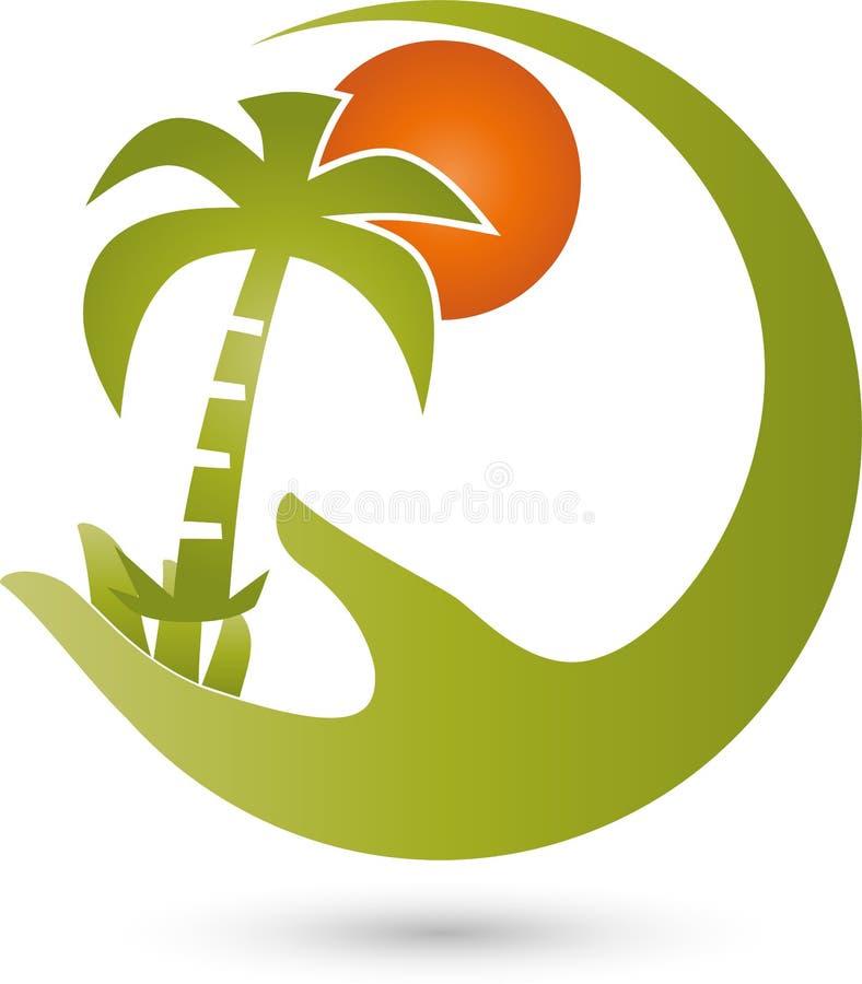手、棕榈和太阳、旅行和旅游业商标 向量例证