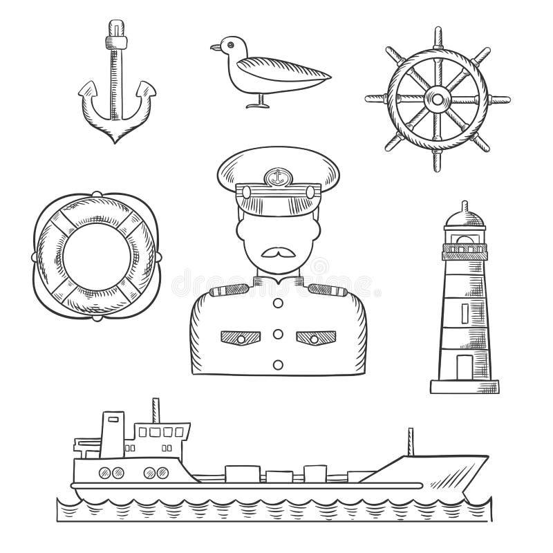 水手、海员和上尉行业设计 皇族释放例证