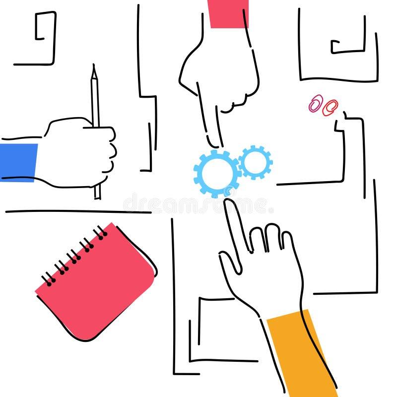 手一起做经营计划工作场所桌面角度图的Woking队 向量例证