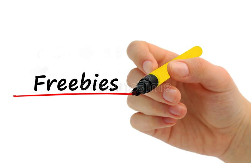 手与蓝色标志的文字免费的东西 免版税库存照片