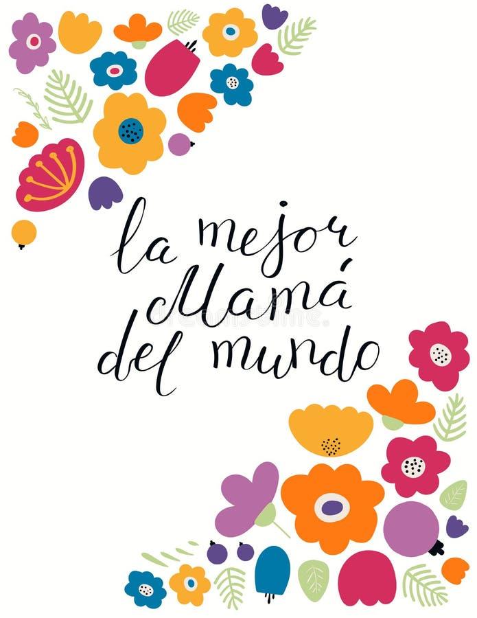手世界行情的书面最佳的妈妈用西班牙语 库存例证