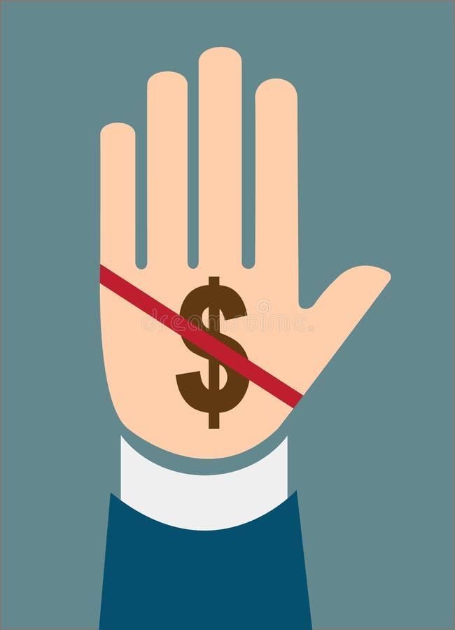 手中止腐败的美元的符号概念 皇族释放例证