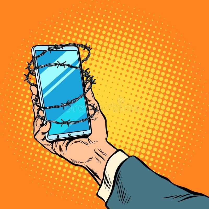 手中电话的铁丝网 库存例证