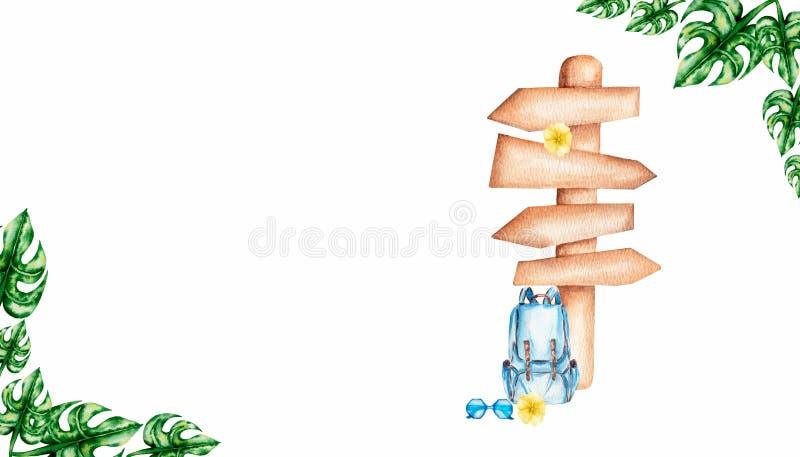 手为旅行设置的图画水彩-有木尖、蓝色太阳镜、黄色花和妖怪叶子的背包 向量例证