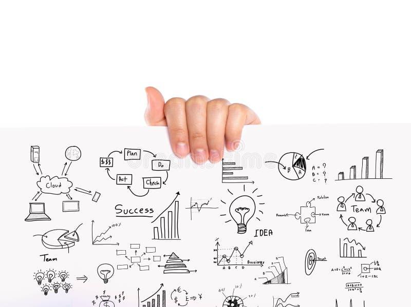 手举行企业概念和图表图画 库存照片