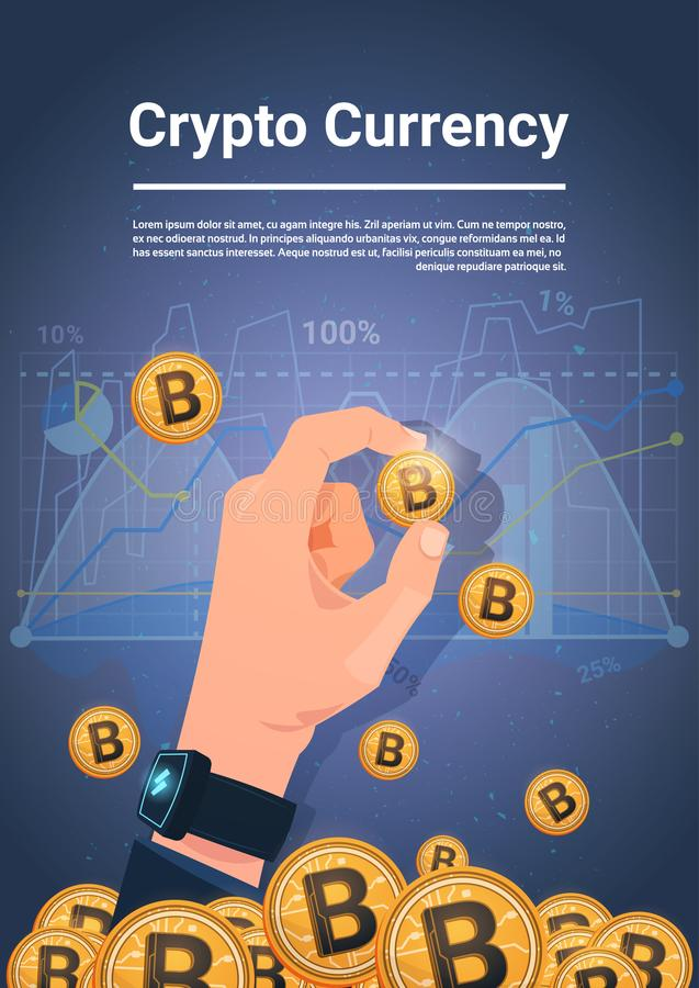 手举行在图和图表背景数字式隐藏货币概念的金黄Bitcoin 向量例证