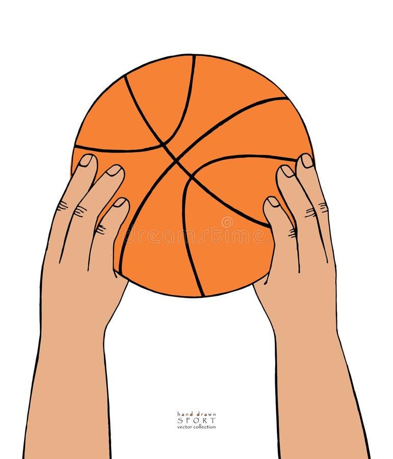 手举行在白色背景的篮球球 手拉的草图 库存例证