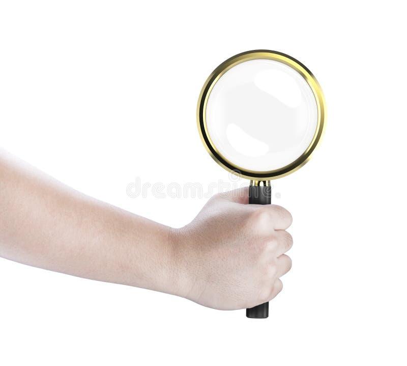 手举行放大镜 库存照片