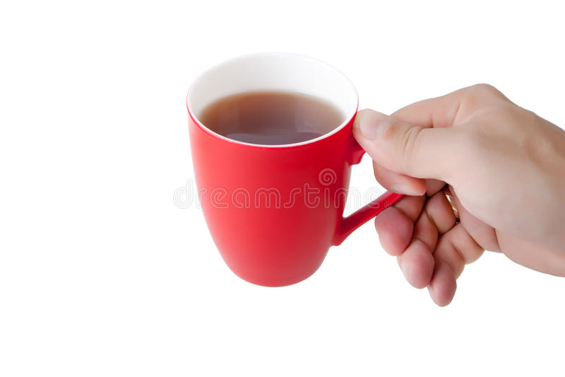 手举行红色杯子 免版税库存照片