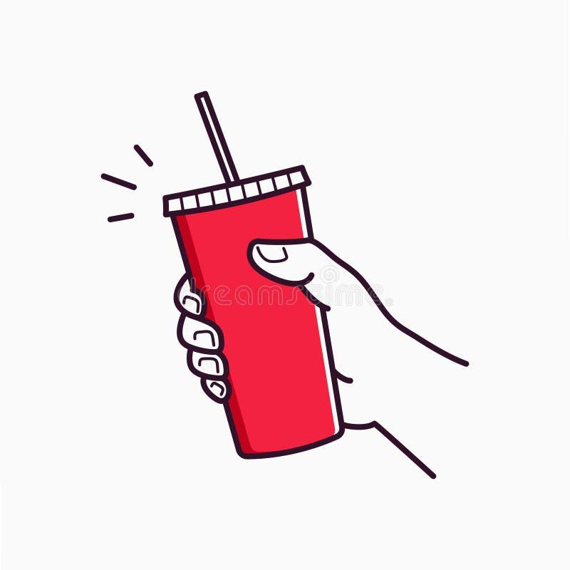 手举行纸杯 拿着一张红色纸的男性手 库存例证