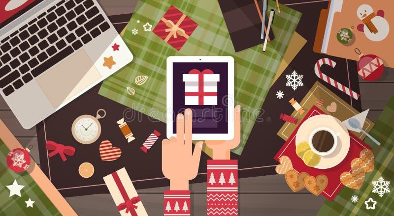 手举行装置电子学小配件新年概念膝上型计算机电话片剂圣诞节礼物装饰 库存例证