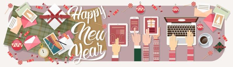 手举行装置电子学小配件新年膝上型计算机电话片剂圣诞节礼物装饰 库存例证