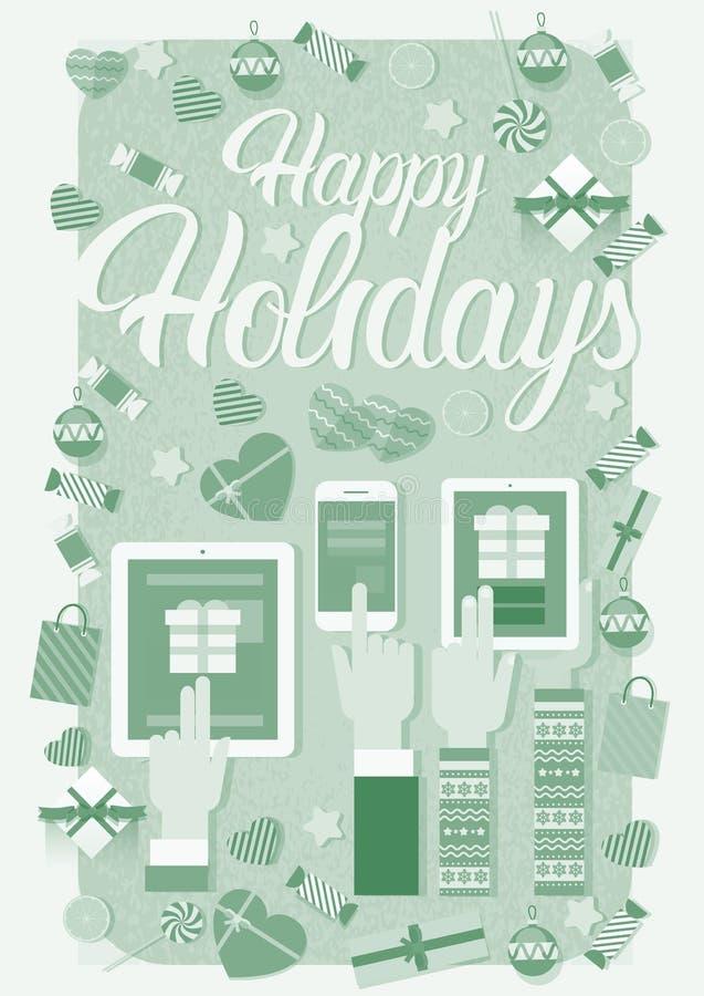 手举行装置电子学小配件新年膝上型计算机电话片剂圣诞节礼物装饰 向量例证