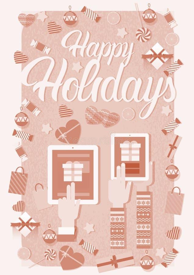 手举行装置电子学小配件新年膝上型计算机电话片剂圣诞节礼物装饰 皇族释放例证