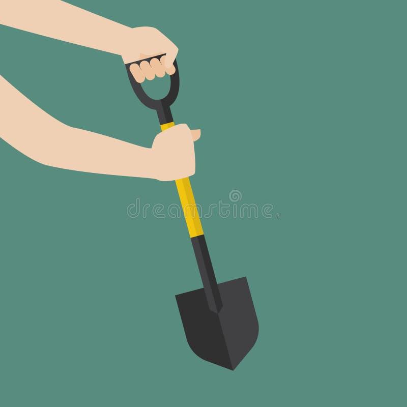 手举行铁锹准备开掘 库存例证