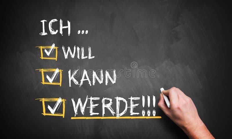 手书写& x27; 我要,我能, I do& x27;用德语 免版税库存图片
