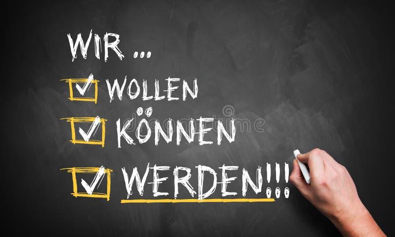 手书写& x22; 我们鞭子,罐头,! & x22;用德语 免版税库存图片