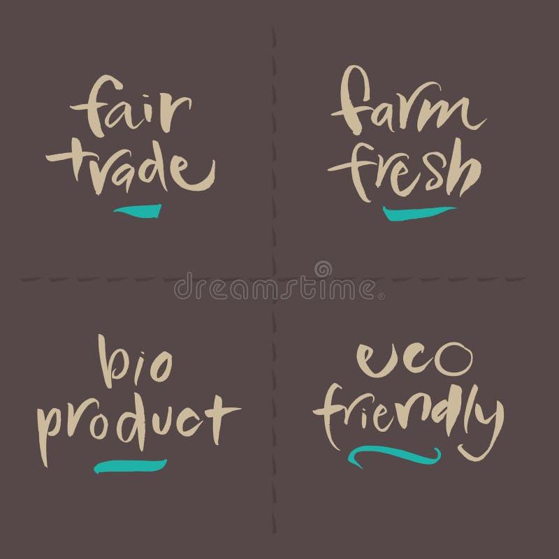 手书面传染媒介食物标签-公平的农厂生物EC 库存例证