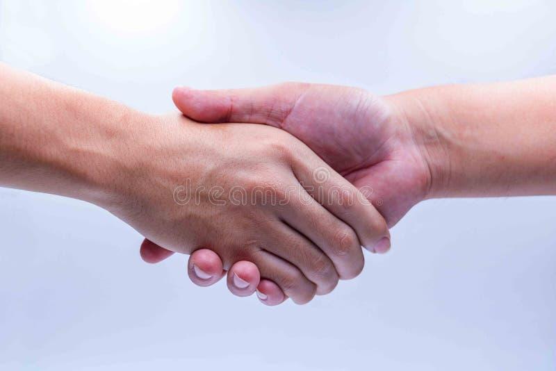 手人握手在白色背景的 免版税库存照片