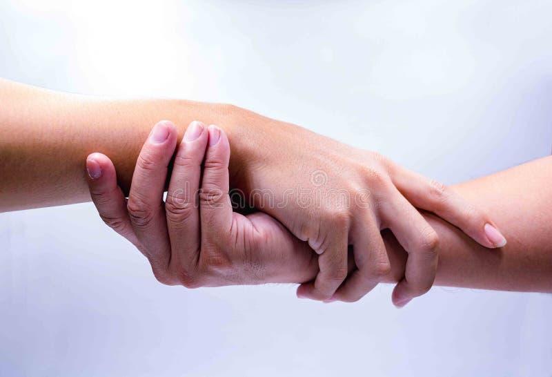 手人握手在白色背景的 免版税库存图片