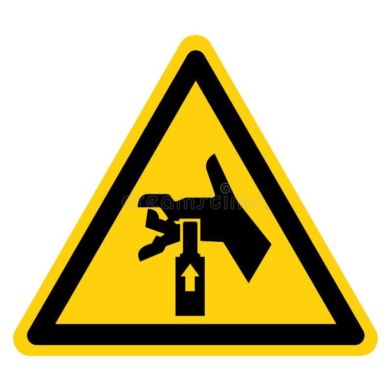 手从标志标志,传染媒介例证,在白色背景标签的孤立下面击碎力量 EPS10 库存例证
