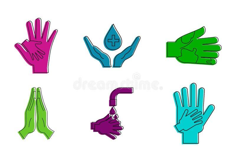 手保护象集合,颜色概述样式 库存例证
