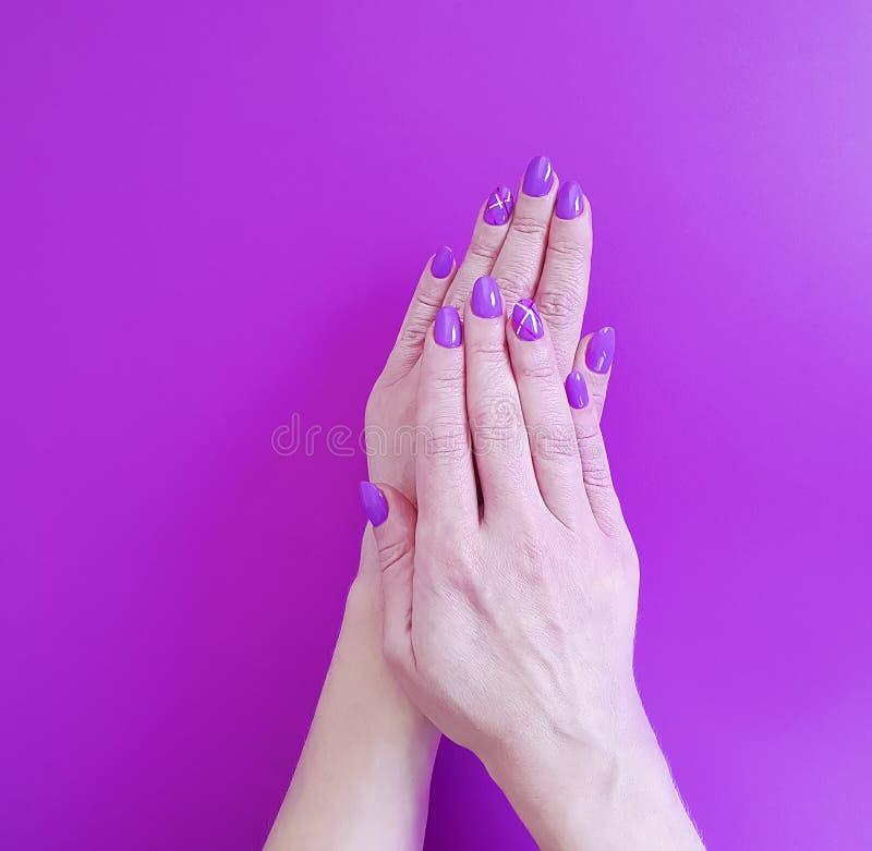 手修剪紫罗兰色波兰时髦最小设计秀丽纸时兴的魅力 免版税库存照片
