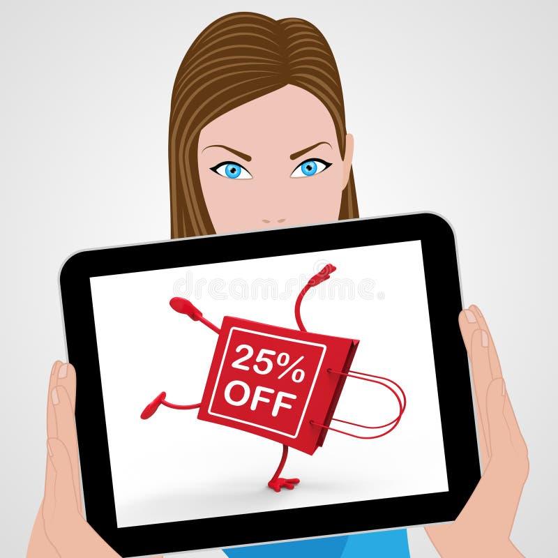 手倒立购物袋显示销售折扣二十五Percen 库存例证