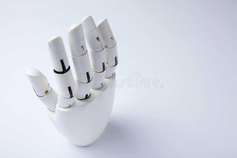 手假肢是白色的 未来的技术 r 库存照片