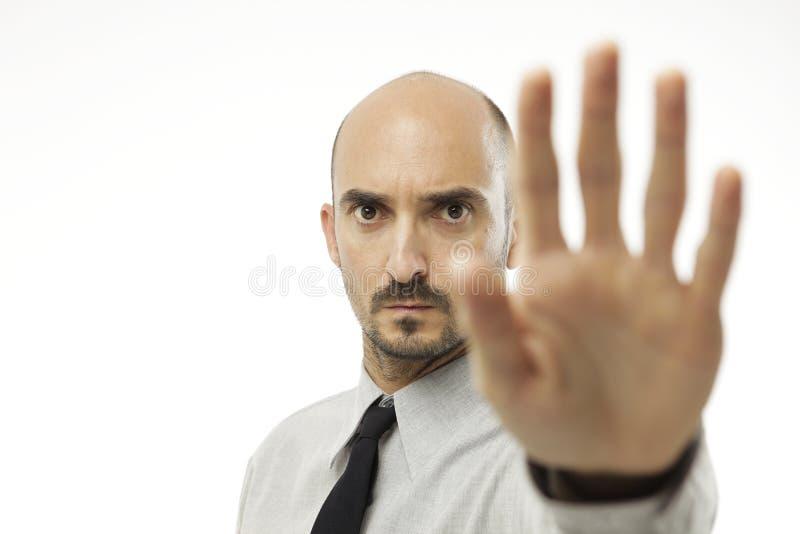 给手停车牌的商人 库存图片